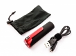 Powerbank, Li-ion, 3400mAh, 12,6Wh, black housing with red clip, LED Flashlight